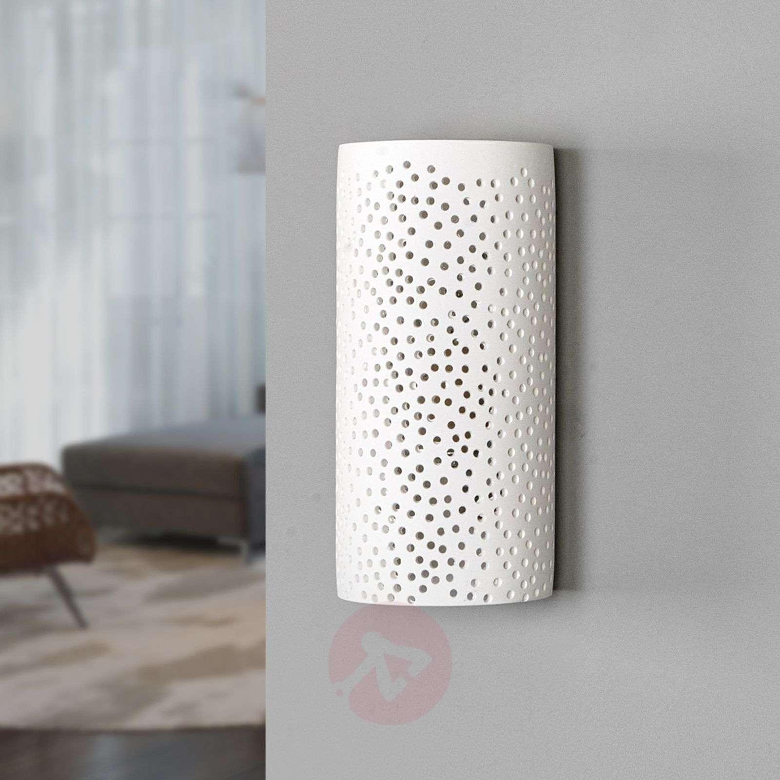 Reikäkuvio-seinävalaisin Jiru valkoisesta kipsistä-9613051-02