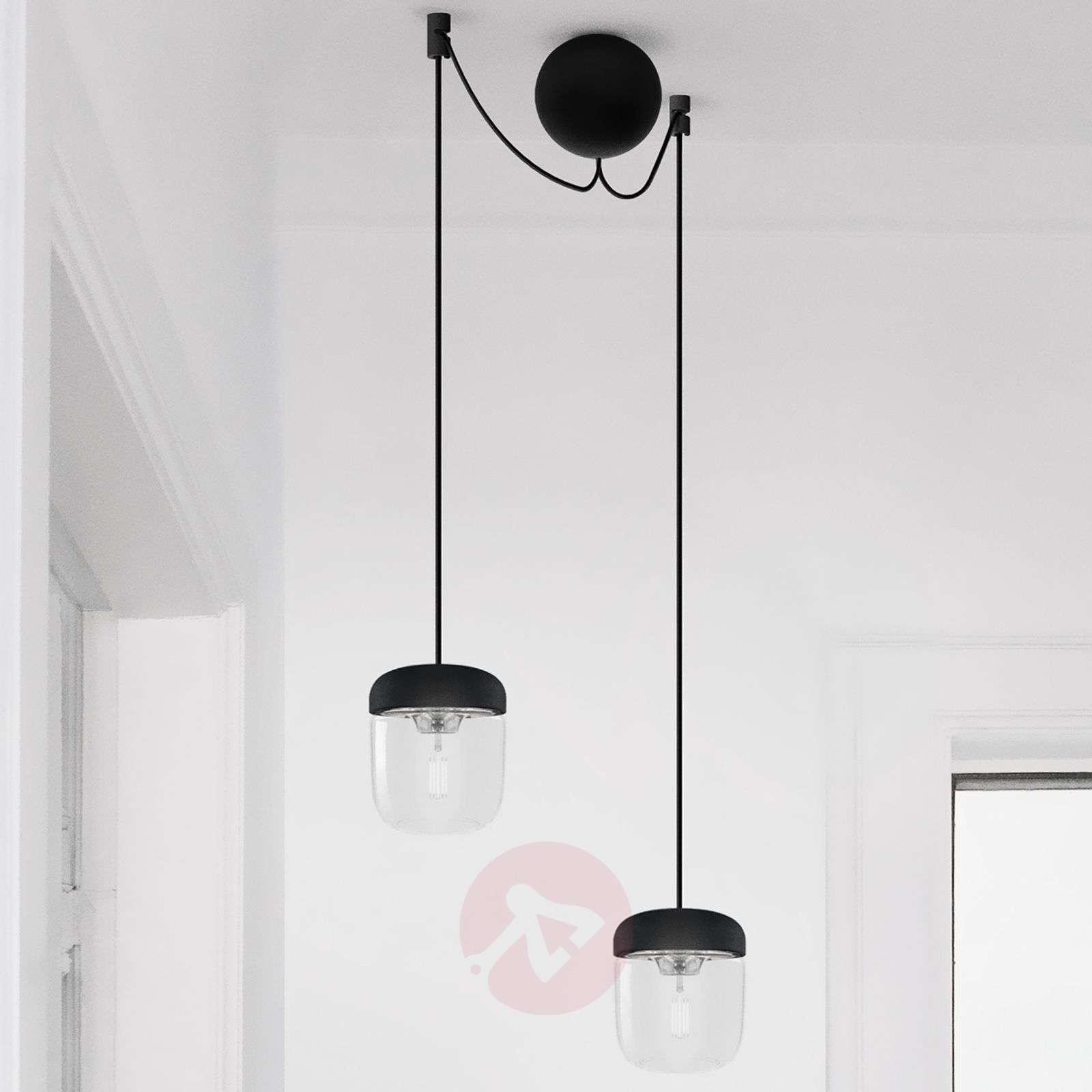 Riippuvalaisin Acorn, 2lamppua, musta ja teräs-9521087-01