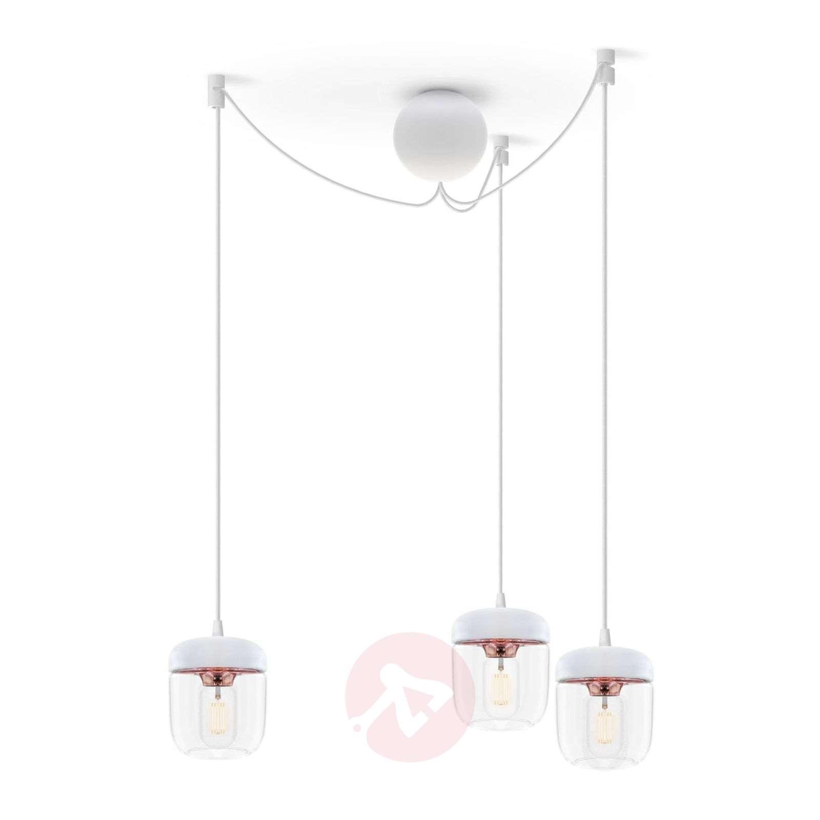 Riippuvalaisin Acorn, 3lamppua, valkoinen, kupari-9521095-01