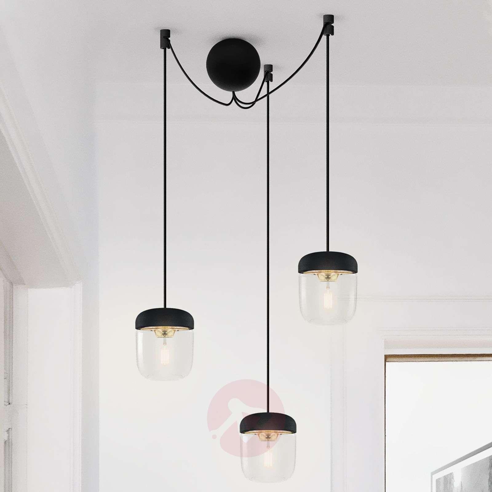 Riippuvalaisin Acorn 3-lamppuinen, musta, messinki-9521097-01