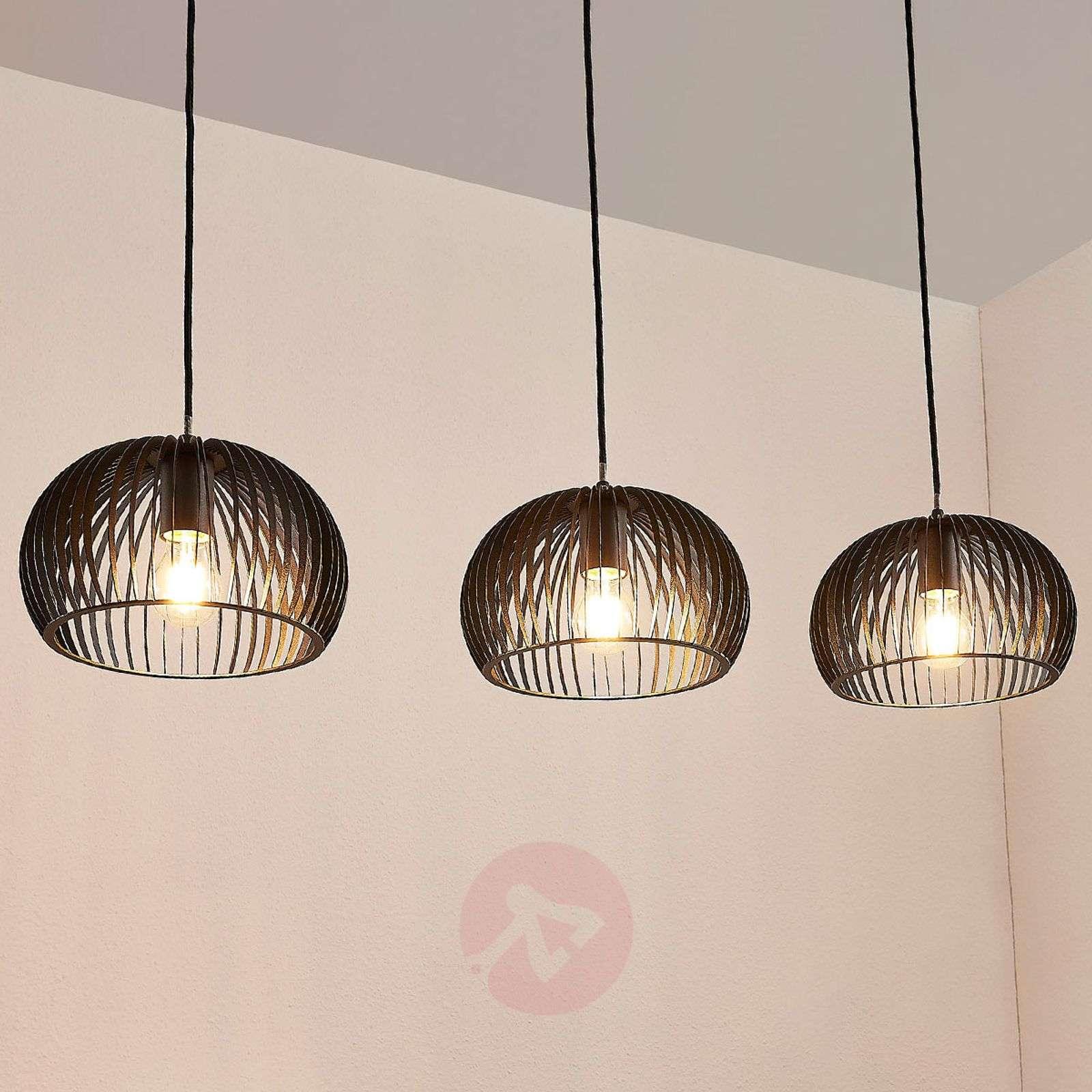 Riippuvalaisin Jusra mustaa metallia, 3-lamppuinen-9624145-01
