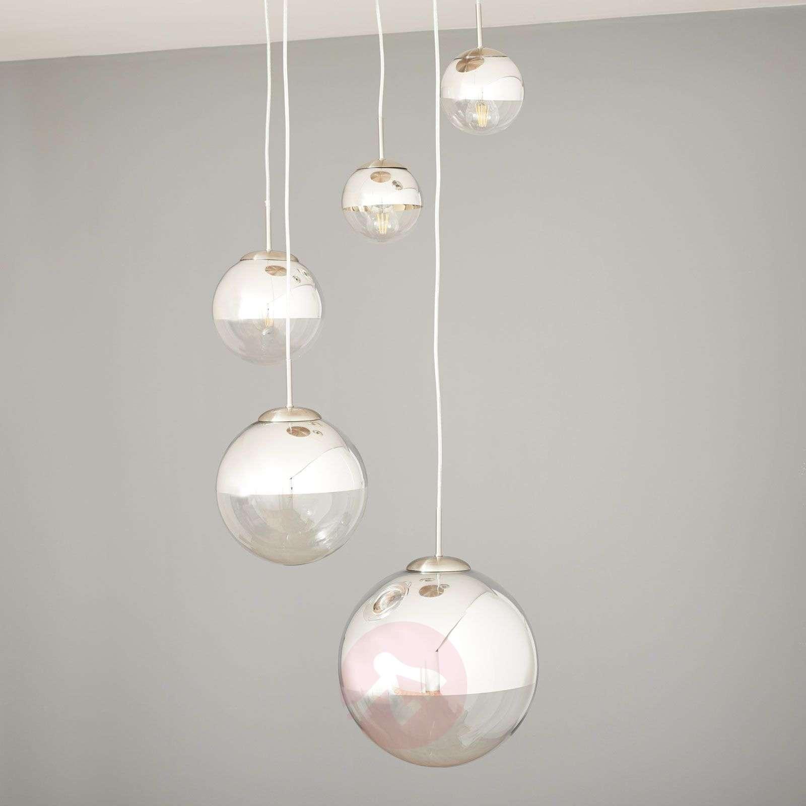 Riippuvalaisin Ravena lasikuulilla, 5-lamppuinen-4018145-02