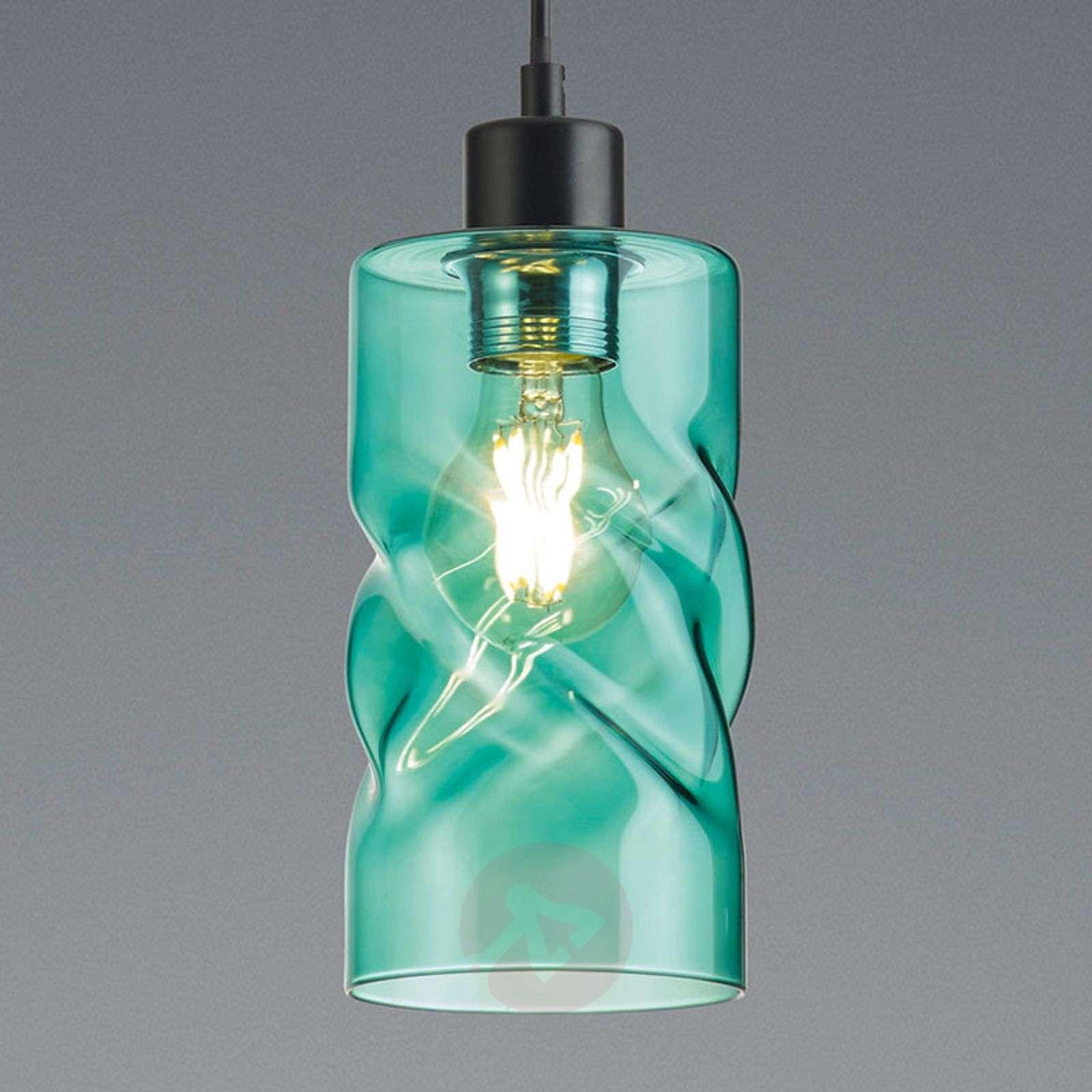 Riippuvalaisin Swirl lasista, 1 lamppu-8029280X-01
