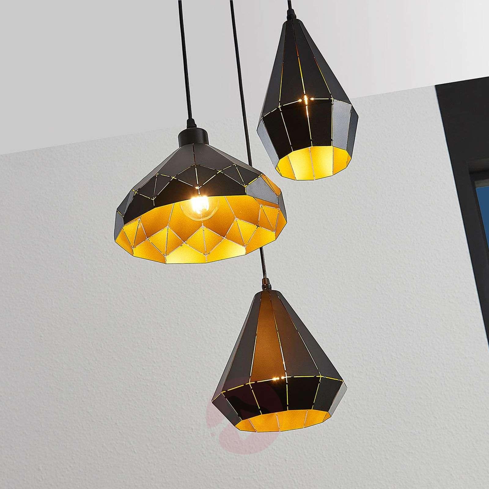 Riippuvalo Kylian, musta-kulta, 3-lamppuinen-4018174-01