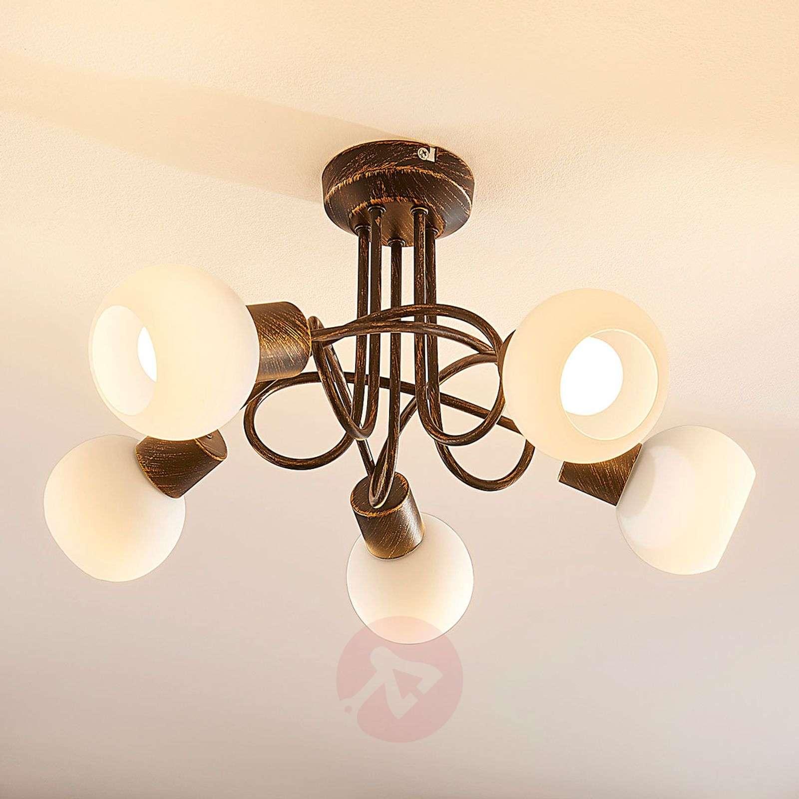 Ruosteenvär. LED-kattovalaisin Elaina, 5-lamp.-9621683-02