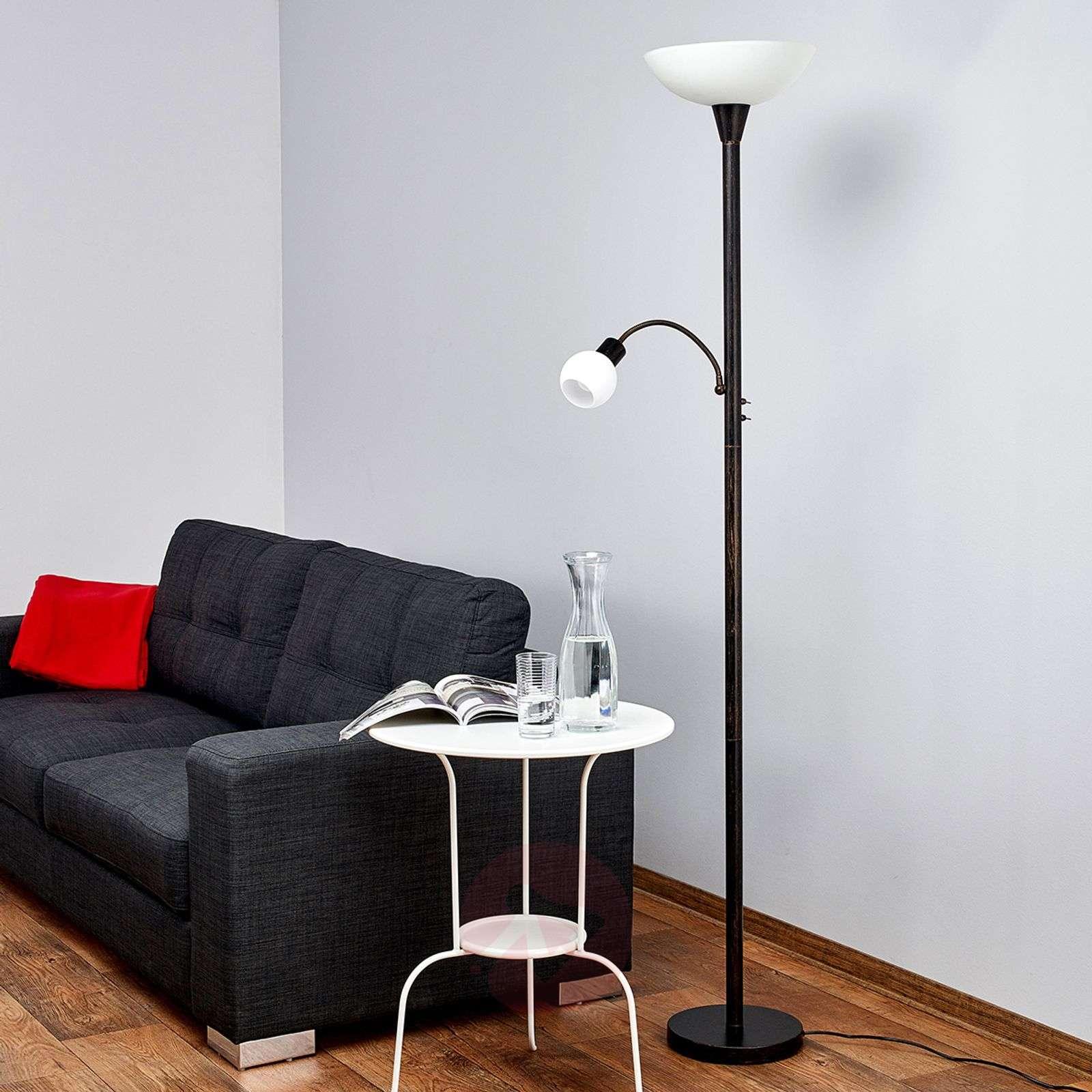 Ruosteenvärinen Elaina LED-jalkalamppu lukuvalolla-9620010-01
