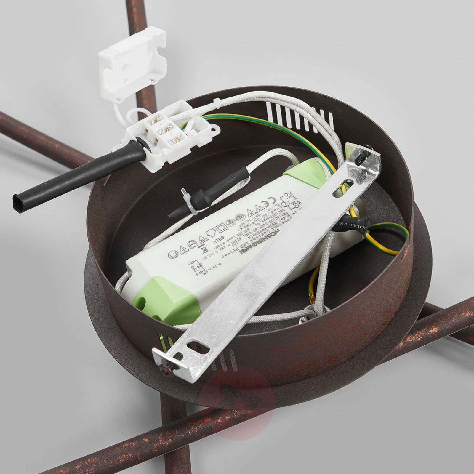 Ruosteenvärinen LED-kattolamppu Yael, 3 tangolla-9639042-02