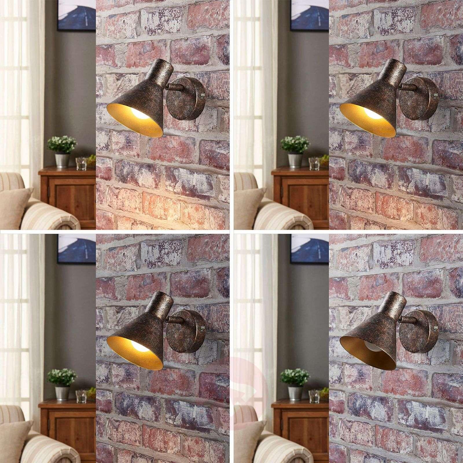 Ruosteenvärinen LED-seinävalaisin Zera, kultasisus-9621539-02