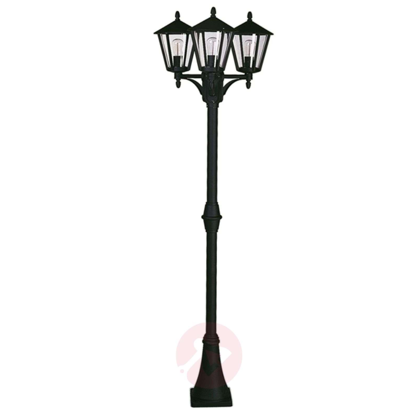 Rustiikkinen lyhtypylväs 680, 3 lamppua, musta