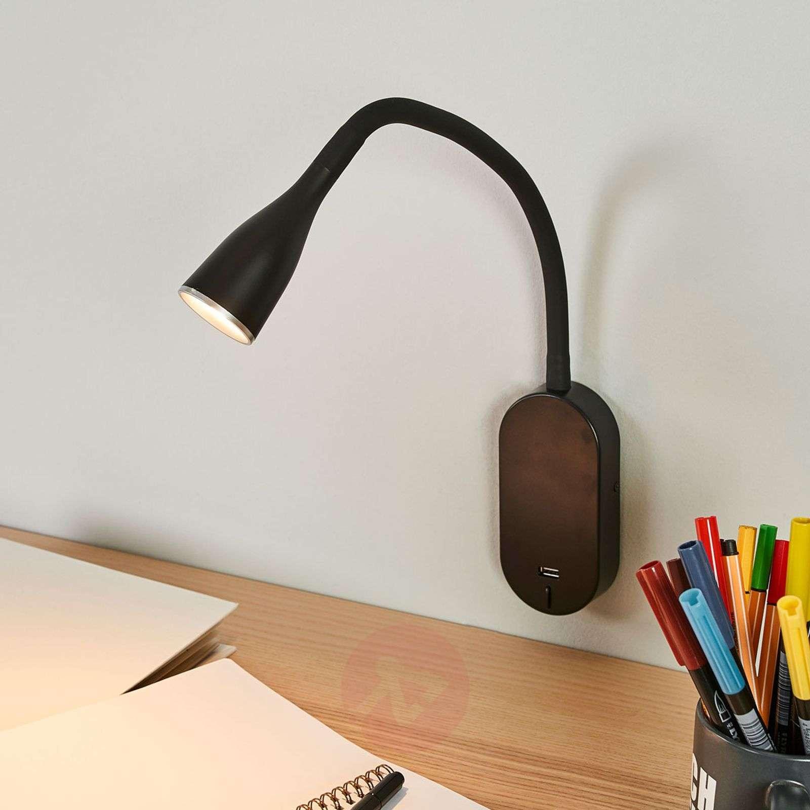 Säädettävä Enna-seinävalaisin LED, USB-portti-9643031-01