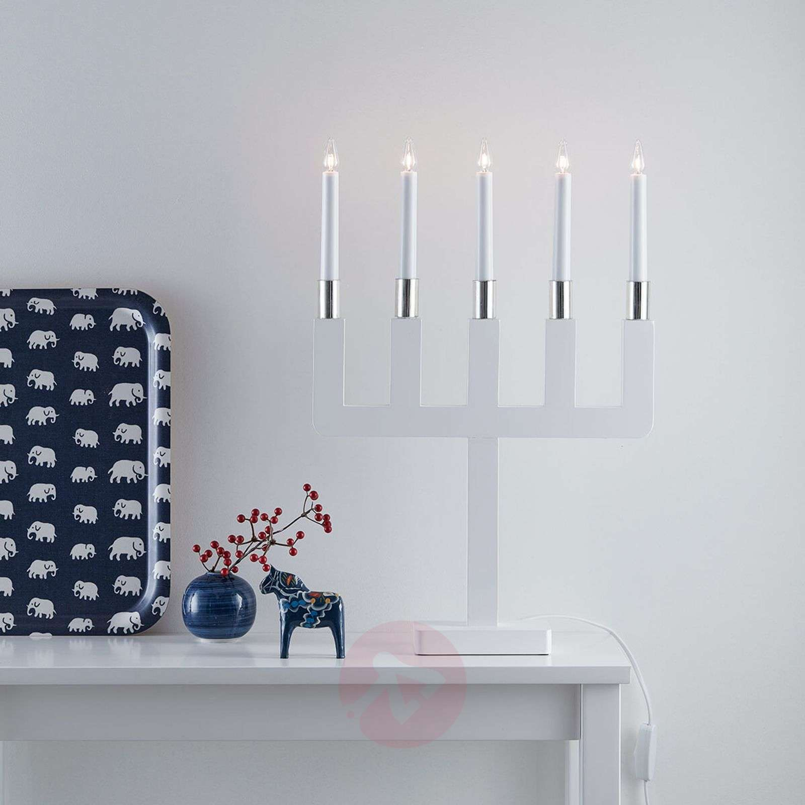 Sundstorp ajattoman kaunis valkoinen kynttelikkö-6507494-01