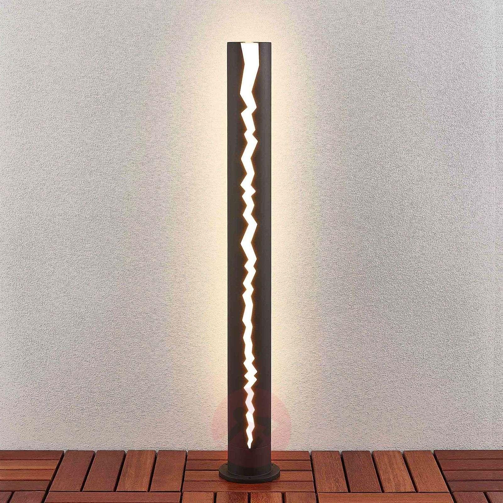 Tummanharmaa LED-pylväsvalaisin Keke, 100 cm-9619154-03