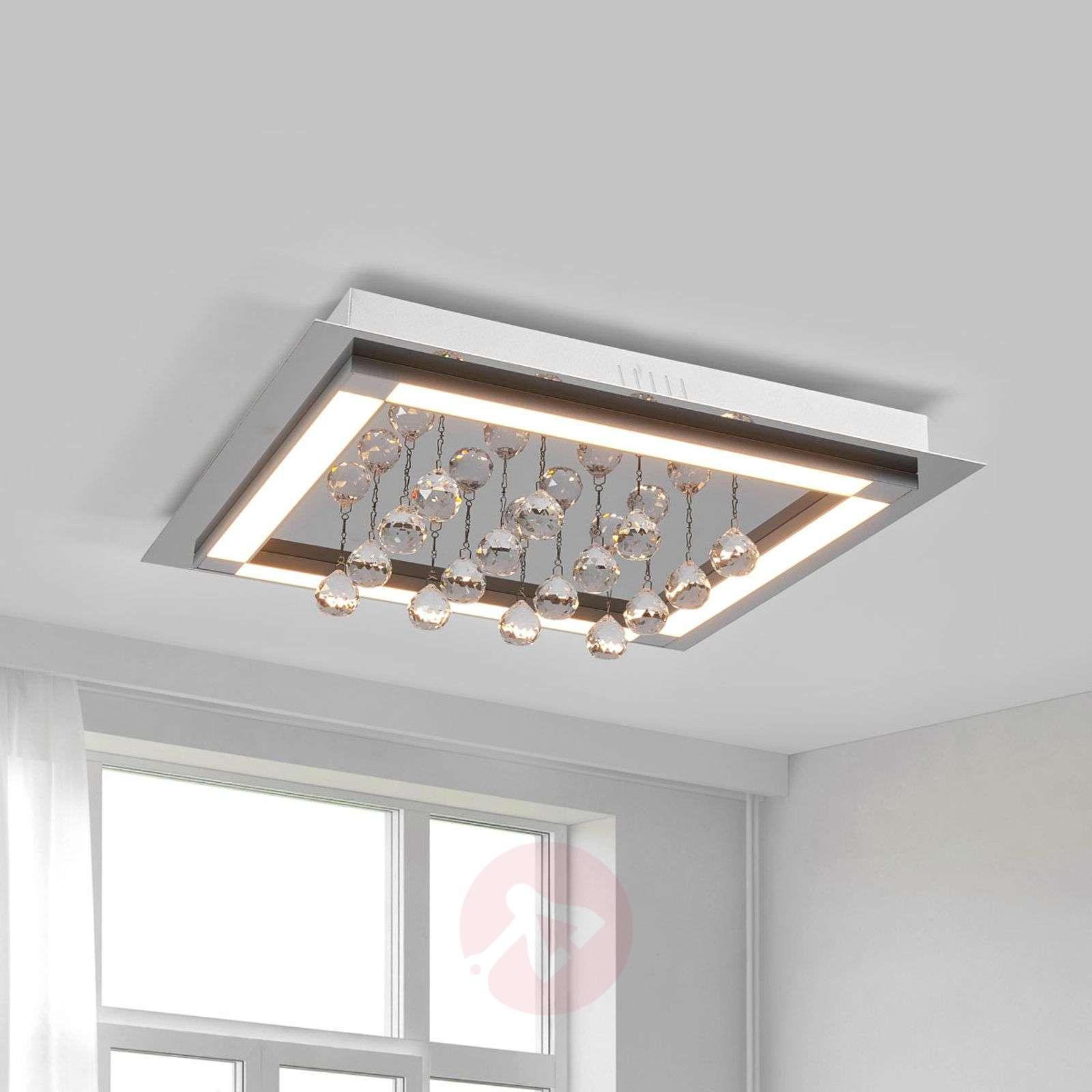 Tyylikäs LED-kattovalaisin Leggero kristalliriip.-6089006-01