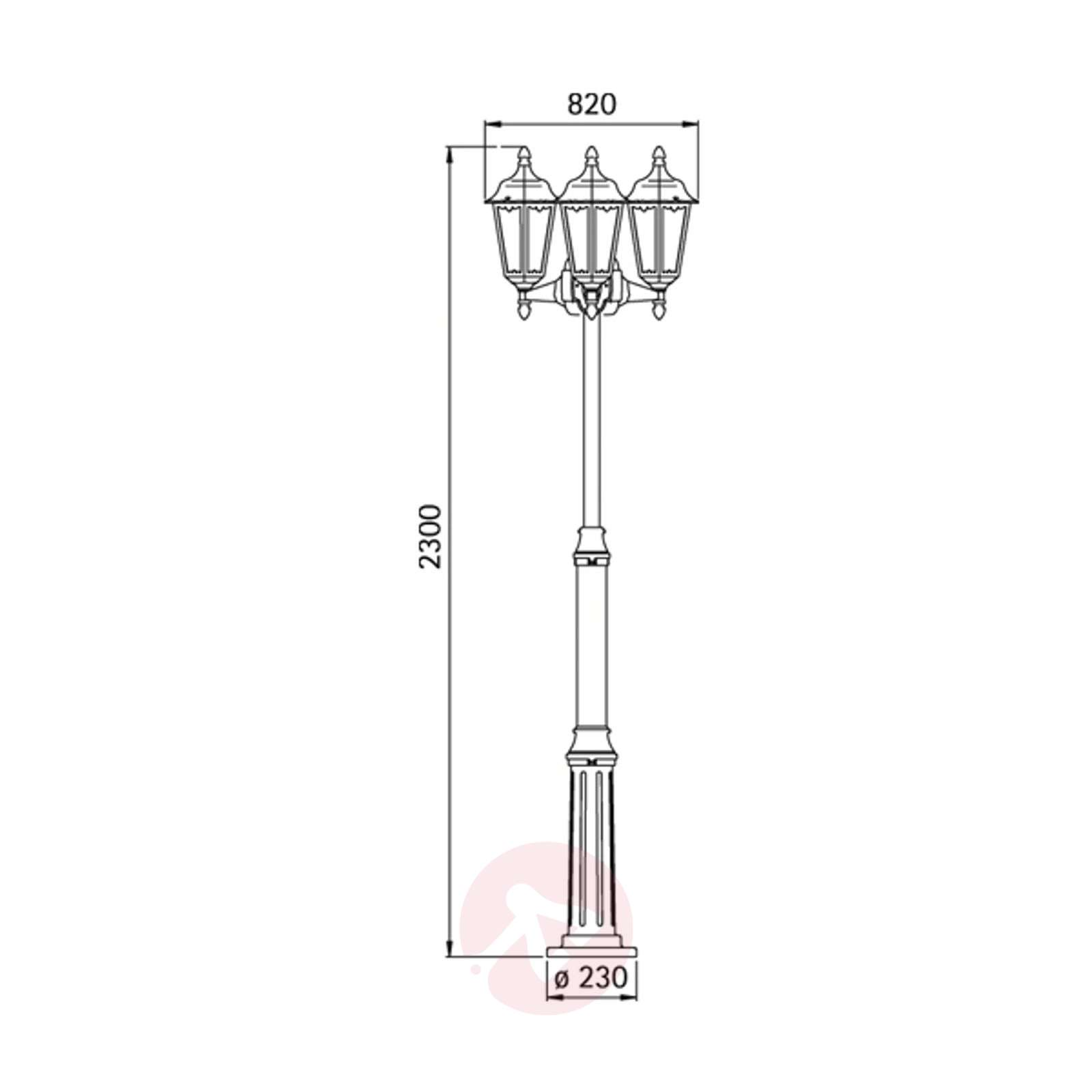Tyylikäs lyhtypylväs 743 B, 3-lamppuinen-4001744-01