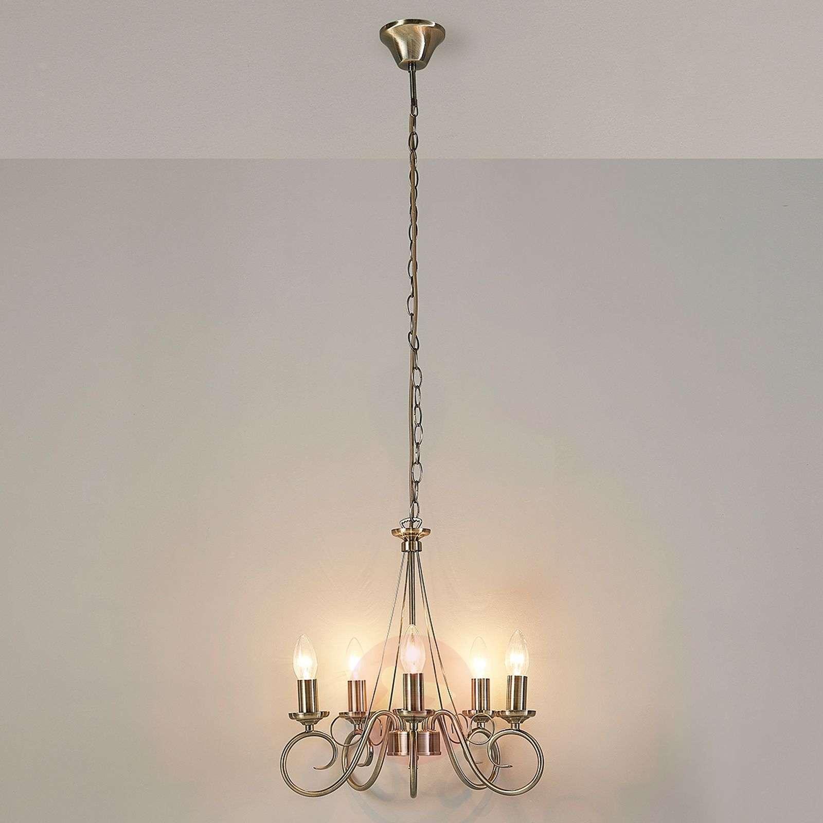 Tyylikäs Marnia-kruunu, vanha messinki, 5-lampp.-9621015-03