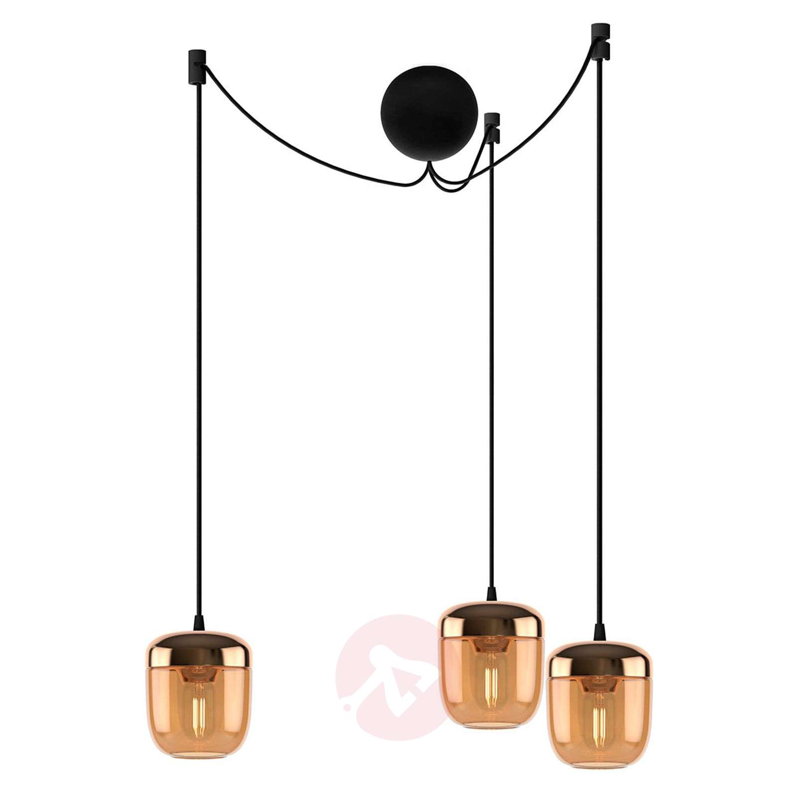 UMAGE Acorn riippuvalo 3-lampp. meripihka messinki-9521224-01