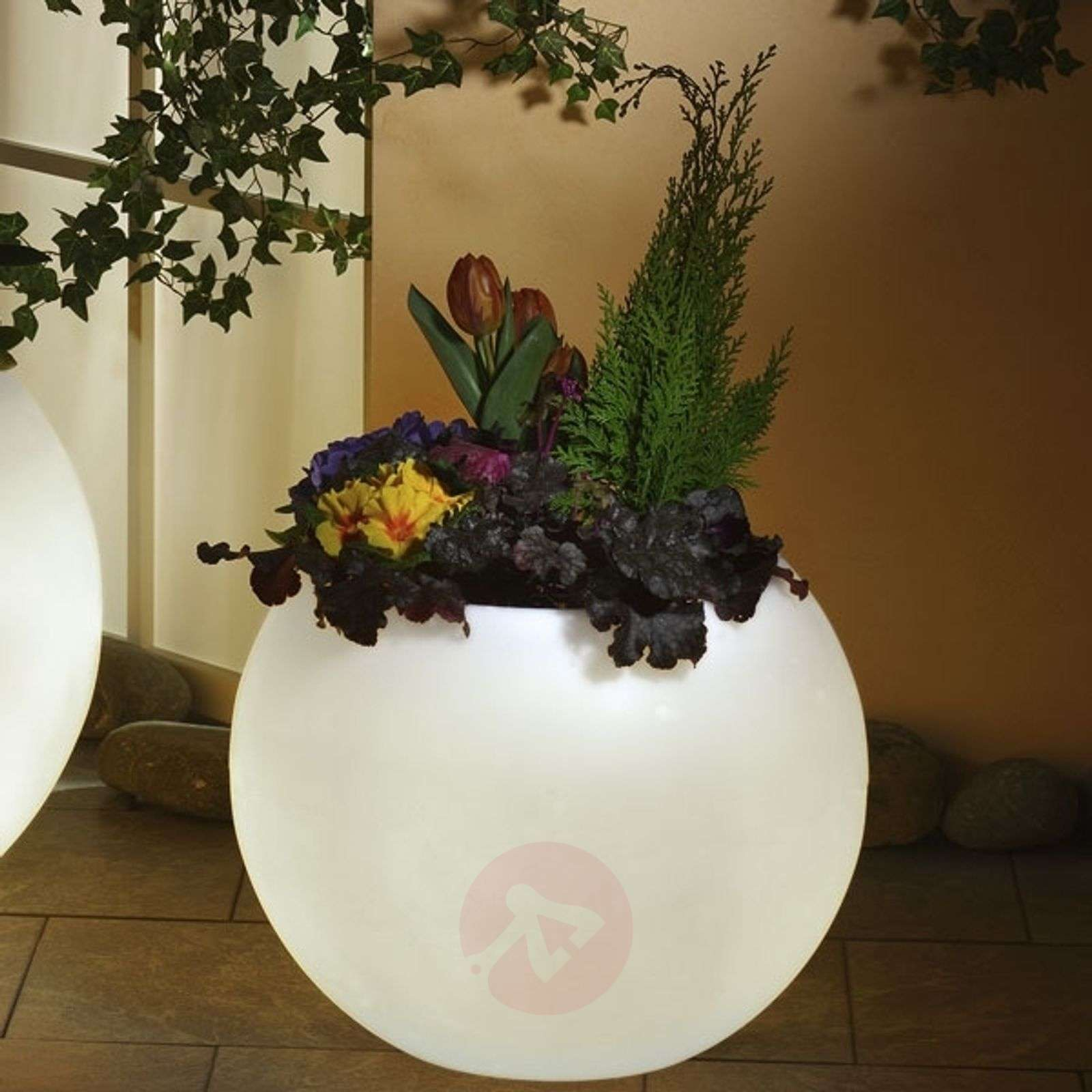 Valaistu kukkaruukku, parasta laatua valkoinen-3050006X-01