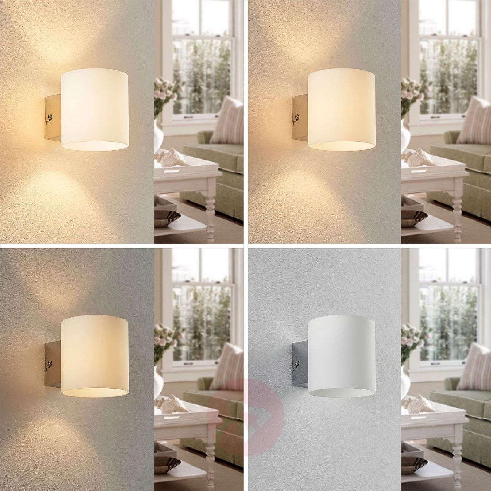Valkoinen lasinen LED-seinävalo Gerrit-9621473-01