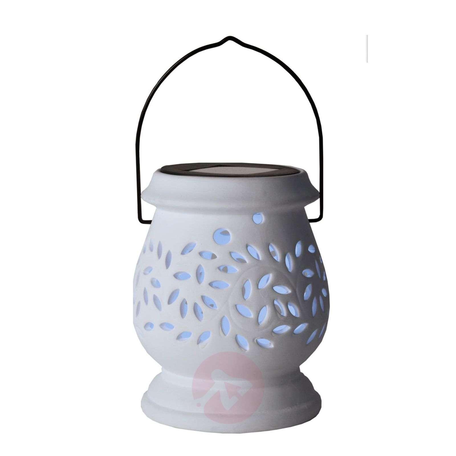 Valkoinen LED-aurinkokennolyhty Clay Lantern-1522713-01