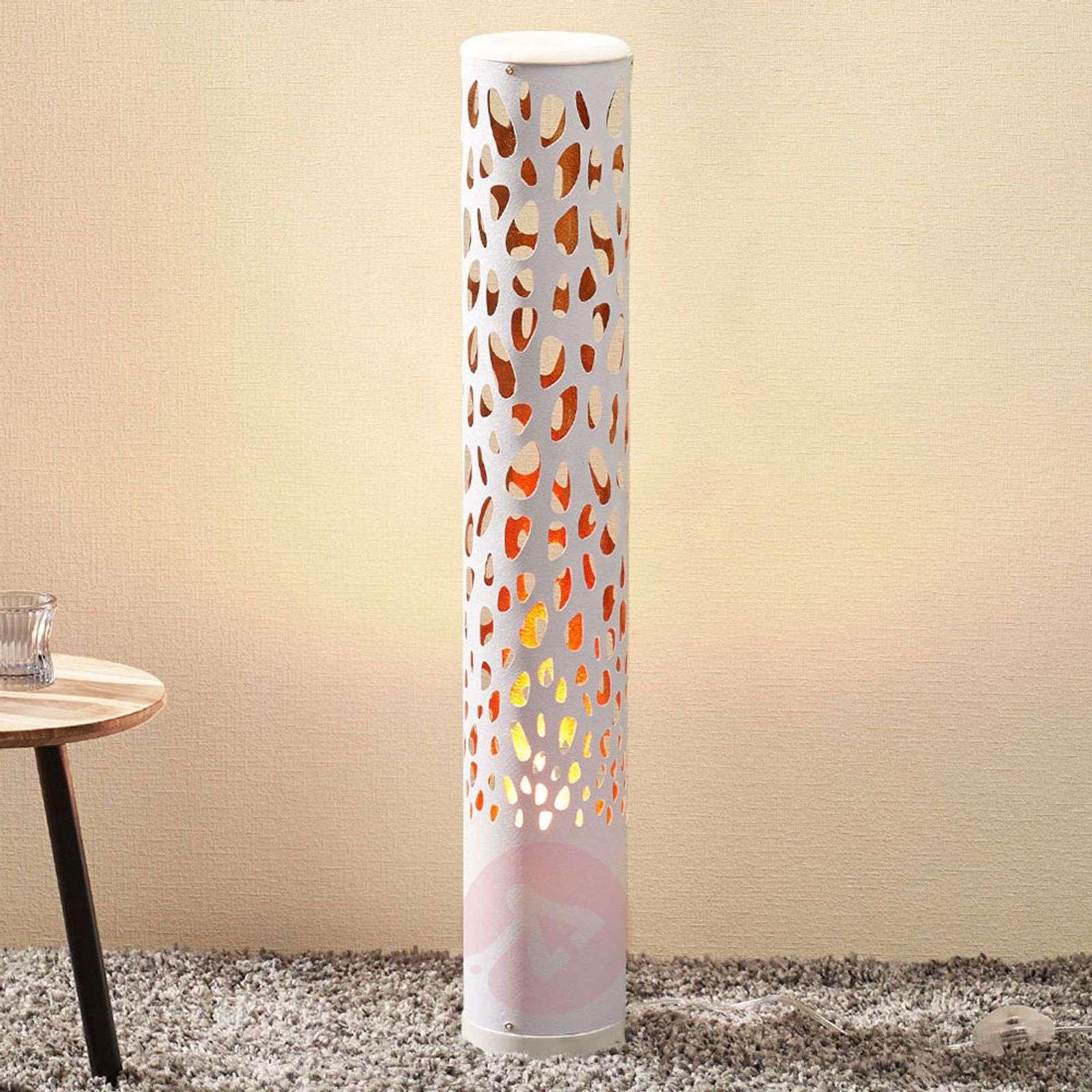Valkoinen LED-lattiavalaisin Organic, liekkilamppu