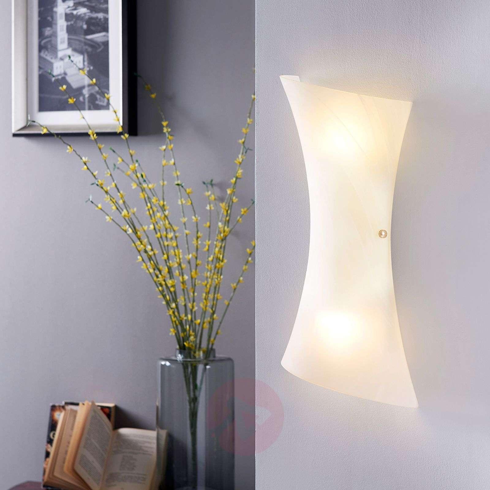 Valkoinen LED-seinävalaisin Ebba, lasia-9620105-01