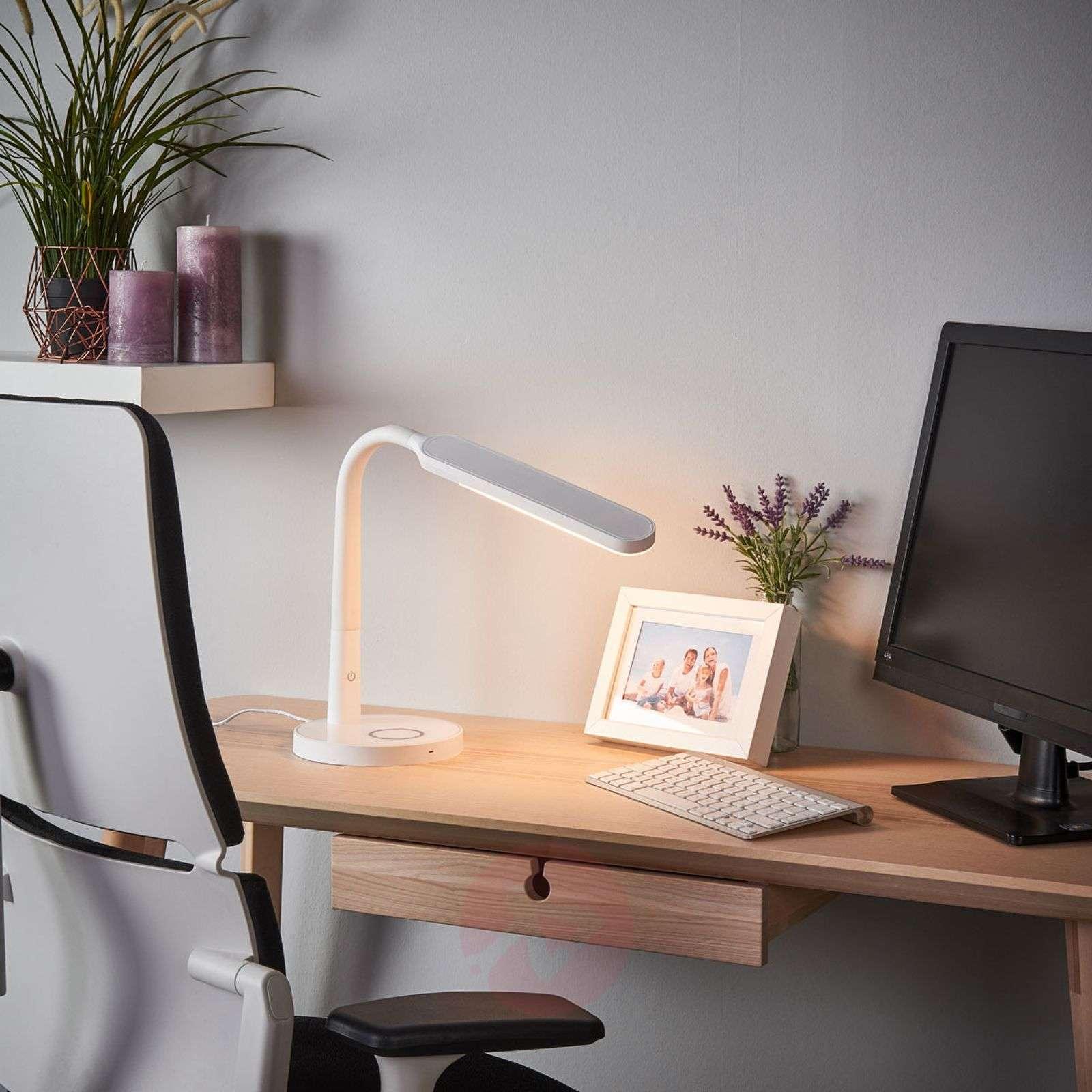 Valkoinen Maily-työpöytävalaisin LED, USB-portti-9643037-02