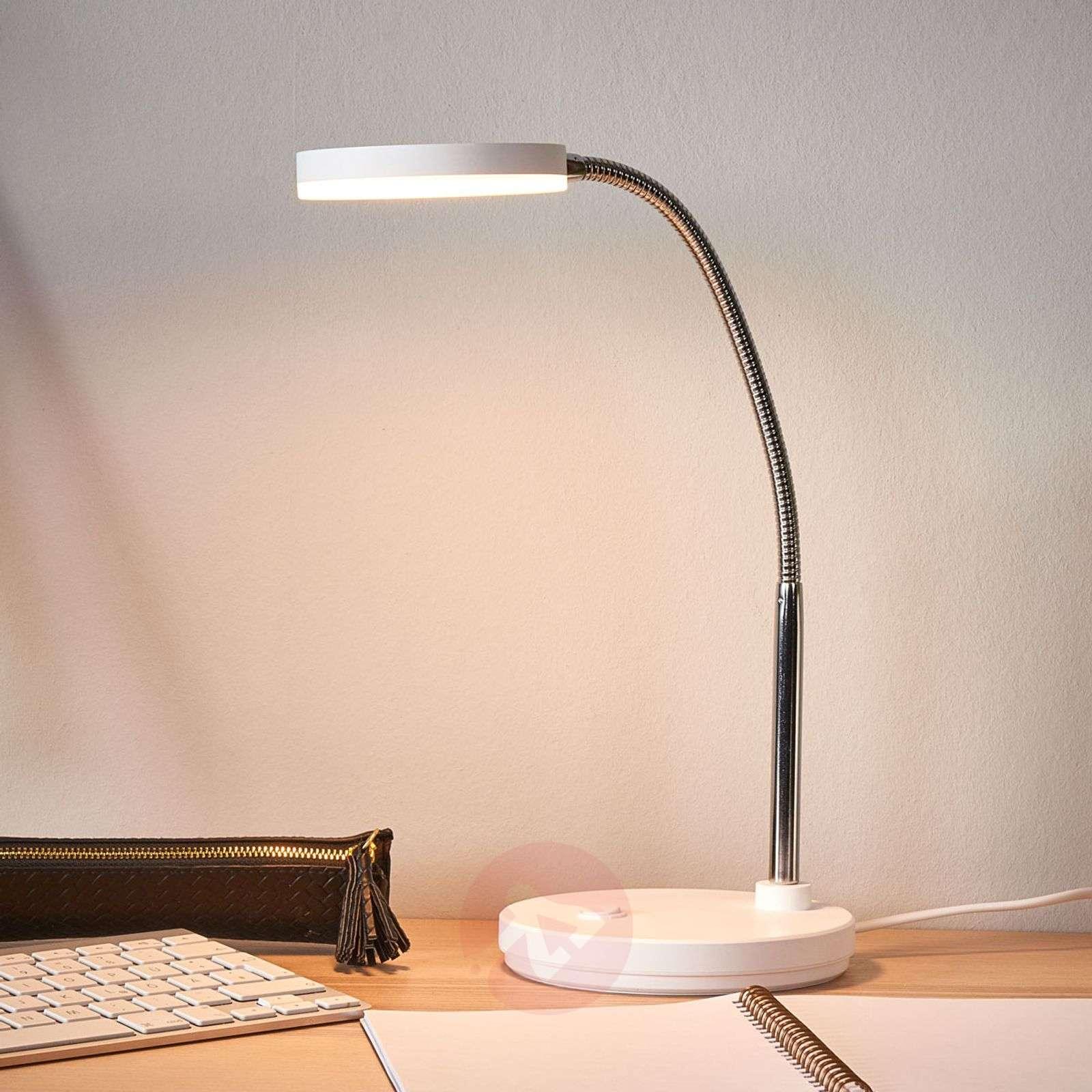 Valkoinen Milow-työpöytävalaisin LED-9643026-02