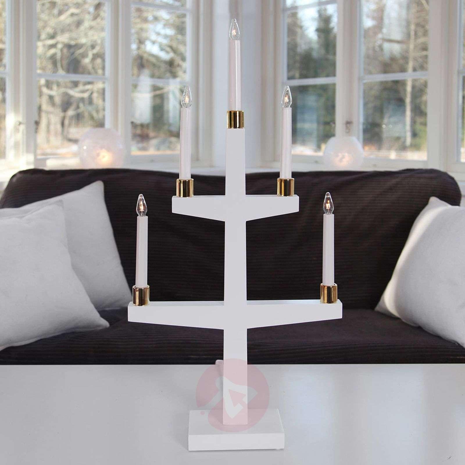 Valkoinen viisilamppuinen LED-kynttelikkö Halla-1523387-01