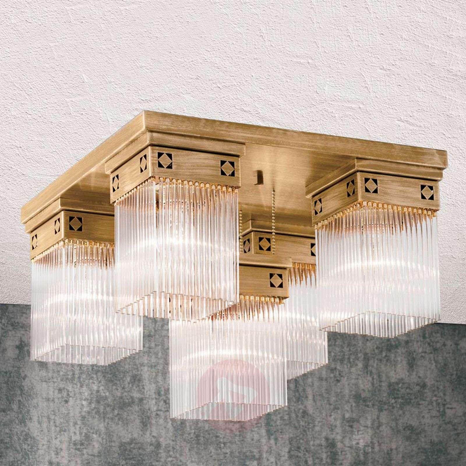 Viiden lampun Frieda-kattovalaisin täysmessingistä-7255207-01