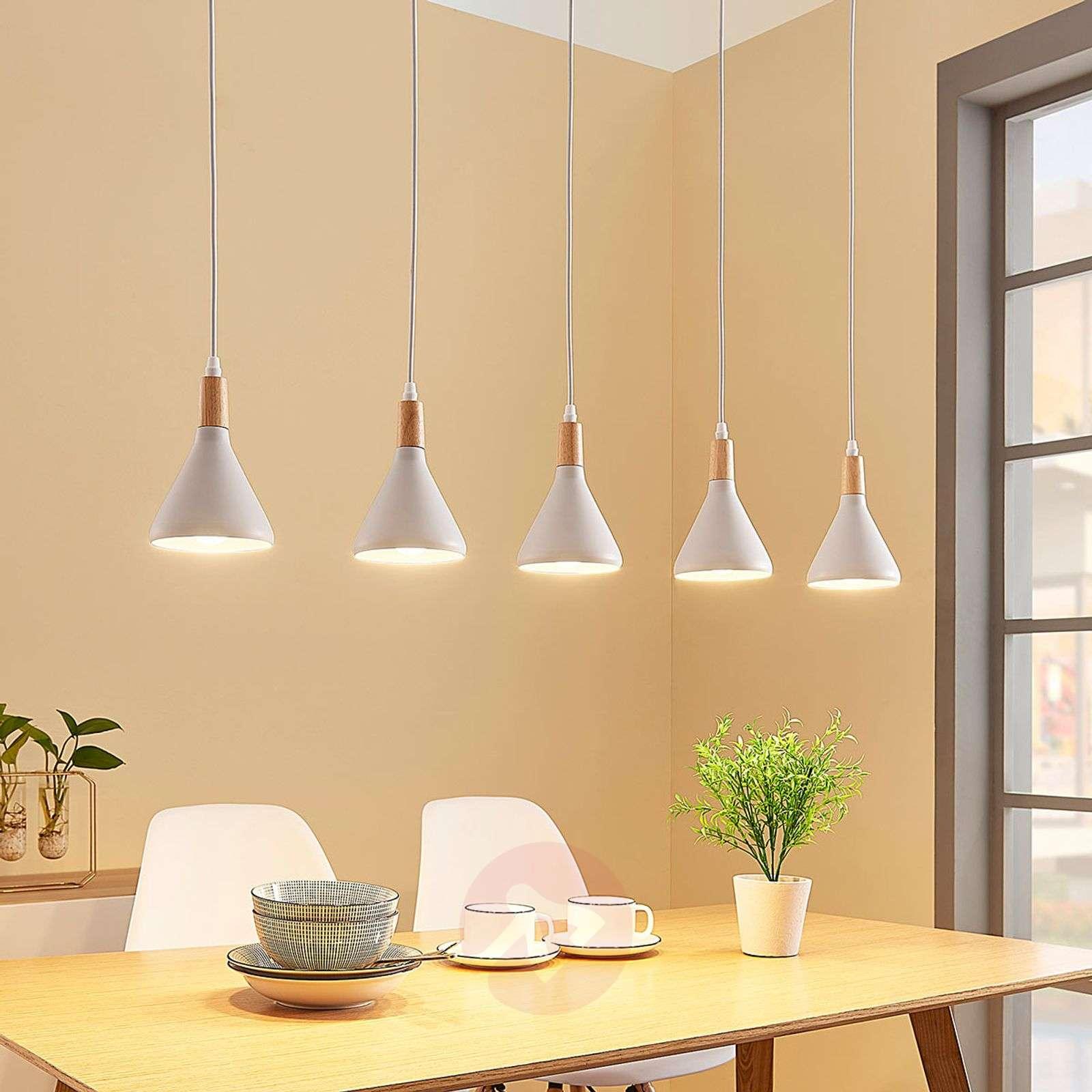 Viisilamppuinen LED-riippuvalaisin Arina valkoinen-9621809-03