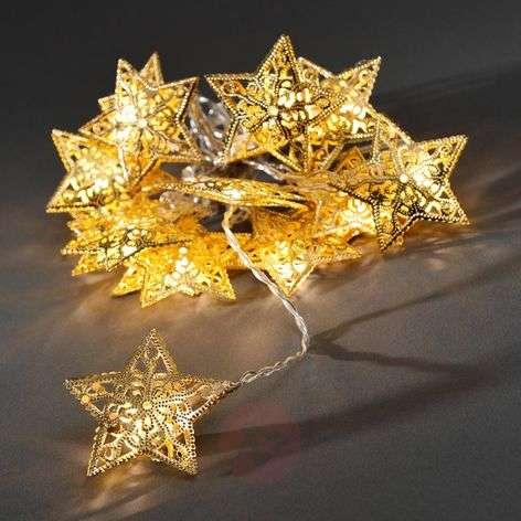 16-lamppuinen LED-valoketju kultaisin tähdin