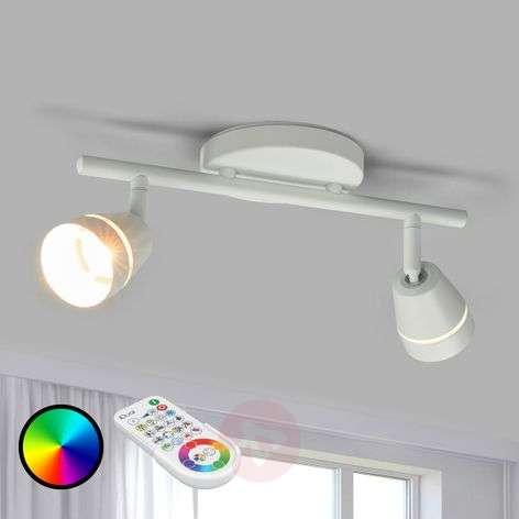 2-lamppu-LED-kattospotti Ivory, kaukosäädinohjaus