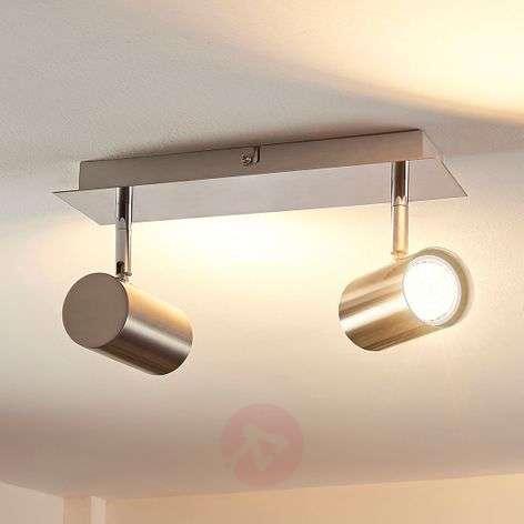 2-lamppu-LED-kohdevalaisin Iluk, satinoitu nikkeli