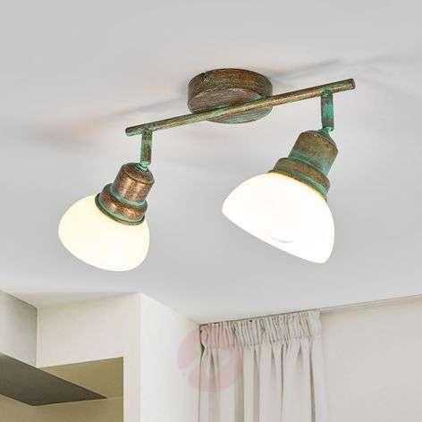2-lamppuinen valkolasinen Olav-kattovalaisin