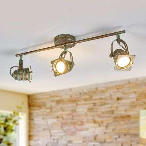 3-lamp. LED-kattokohdevalo Janek, antiikkityyli