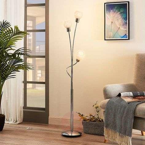 3-lamppuinen LED-lattiavalaisin Matthea valk. lasi