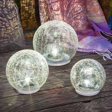 3-os. LED-aurinkokennovalaisinsetti Crackle Ball