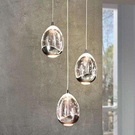3-osainen, krominvärinen Rocio-LED-riippuvalaisin