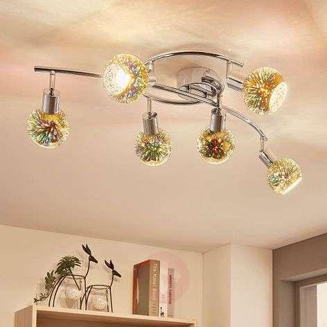 6-lamppuinen LED-kattolamppu Isumi, lasi Firework