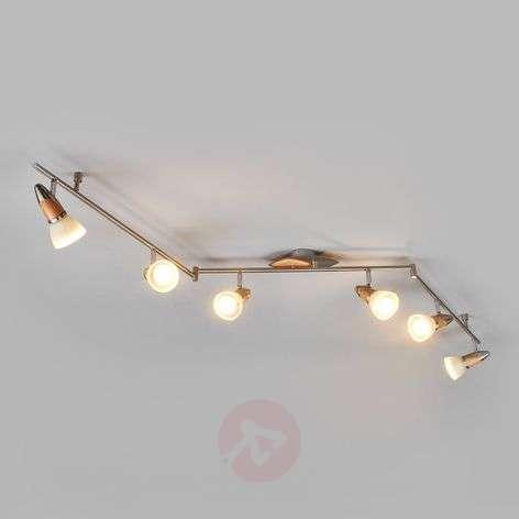 6-lamppuinen LED-kattovalaisin Marena, puuta