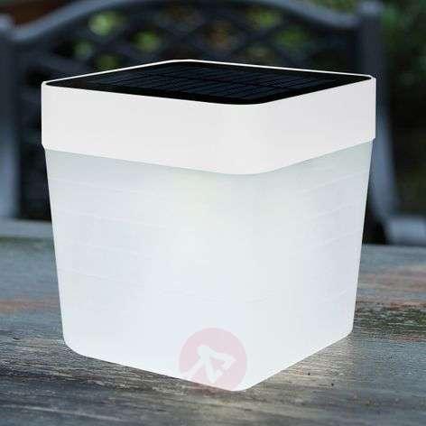 Aurinkokäytt. LED-pöytävalaisin Table Cube, valk.