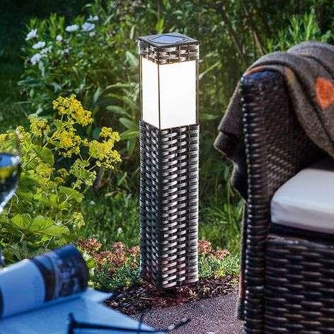 Aurinkokäyttöinen Rattan-lattiavalaisin LED valk.