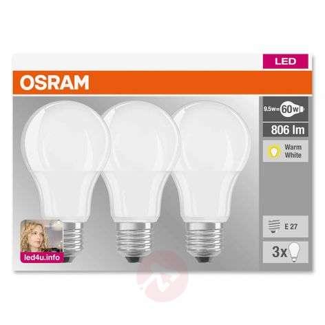 E27 9W 827 LED-lamppu matta, 3 kpl:n setti