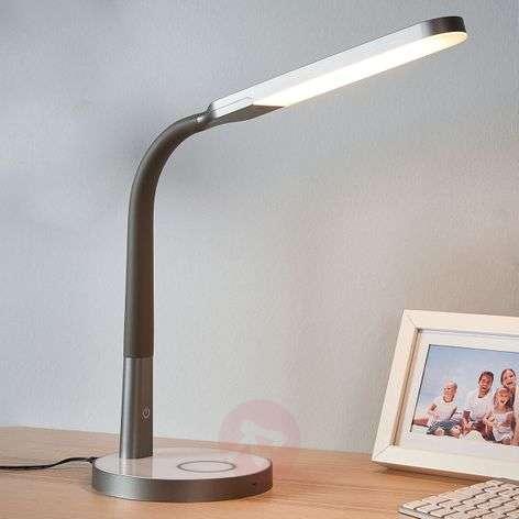 Harmaa Maily-työpöytävalaisin LED, USB & himmennin