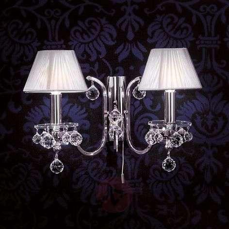 Hopeinen tekstiiliseinävalaisin, kristallit 2-lamp