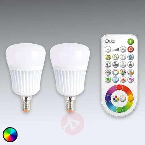 iDual E14 LED-lamppu, 2kpl, kaukosäädin