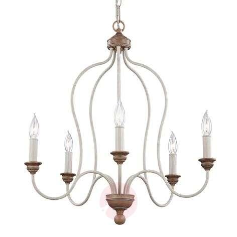 Kalkinvalkoinen Hartsville-kattokruunu, 5 lamppua