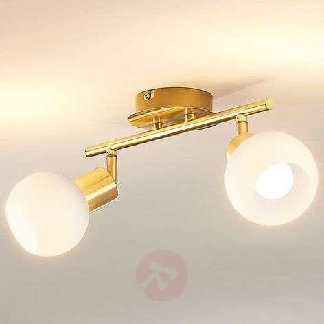 Kattovalaisin Elaina E14-LED-lampuilla, messinkiä