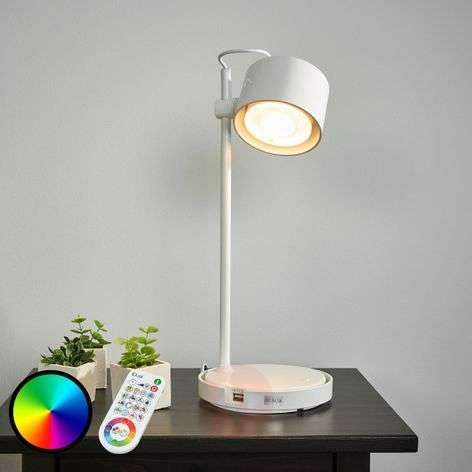 Kiiltävänvalkoinen LED-pöytävalaisin Jasmine iDual