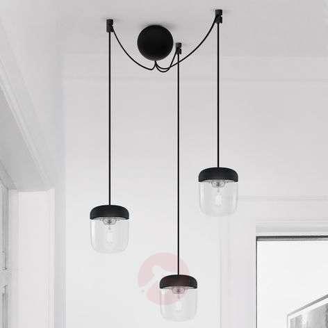 Kolmilamppuinen riippuvalaisin Acorn, musta, teräs